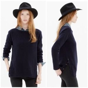 Madewell Pinewood 100% Merino Wool Sweater Navy XS